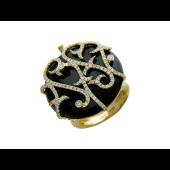 Кольцо с ониксом и бриллиантами из желтого золота 585 пробы