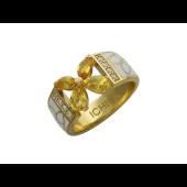 Кольцо Цветок с желтыми сапфирами, бриллиантами и белой эмалью, желтое золото 750 проба