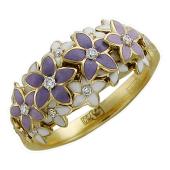 Кольцо с бриллиантами, сиреневой и белой эмалью, желтое золото 750 проба