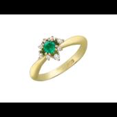 Кольцо с бриллиантами и изумрудом (сапфиром), желтое золото 750 проба