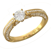 Кольцо для помолвки с россыпью бриллиантов и бриллиантом в центре, желтое золото 750 проба