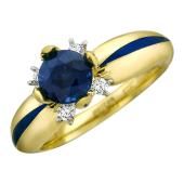 Кольцо с круглым драгоценным камнем, эмалью и бриллиантами, желтое золото, 585 проба