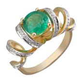Кольцо Серпантин с бриллиантами и круглым изумрудом, желтое золото 750 пробы