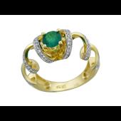 Кольцо с изумрудом и бриллиантами, желтое золото 750 проба
