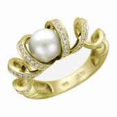 Кольцо с жемчугом (топазом шар) и бриллиантами, желтое золото 750 проба