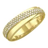 Кольцо с дорожкой бриллиантов, желтое золото 750 проба