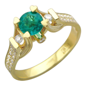 Кольцо с круглым изумрудом (танзанитом) в держателях-сердечках и с бриллиантами, желтое золото 750 проба