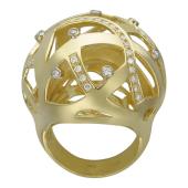 Кольцо Шар с бриллиантами, желтое золото 750 проба