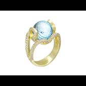 Кольцо с топазом шар и бриллиантами, желтое золото 750 проба