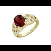 Кольцо с бриллиантами и овальным танзанитом (топазом), желтое золото 750 проба