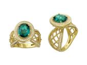 Кольцо с крупным изумрудом и бриллиантами, желтое золото, 585 проба