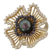 Кольцо с черным жемчугом, чёрными и прозрачными бриллиантами, желтое золото 750 проба