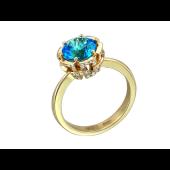 Кольцо с бриллиантами и аметистом (топазом, топазом швейцарским), желтое золото 750 проба