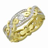 Кольцо с бриллиантами (бриллианты+рубины), желтое золото 750 проба
