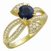 Кольцо с круглым изумрудом (сапфиром) в держателях-листочках и с бриллиантами, желтое золото 750 проба