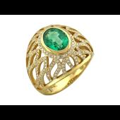 Кольцо с изумрудом и бриллиатами из желтого золота 585 пробы