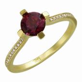 Кольцо с круглым турмалином (сапфиром, аметистом) в квадратных держателях и с бриллиантами, желтое золото 750 проба