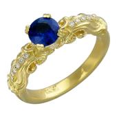 Кольцо Роскошь с изумрудом (сапфиром) и бриллиантами, желтое золото