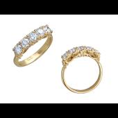 Кольцо с пятью бриллиантами и изящными держателями, желтое золото 750 проба