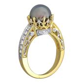 Кольцо Маркиза с чёрным (белым) жемчугом и бриллиантами, желтое золото