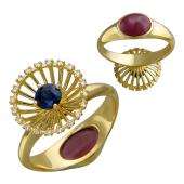 Кольцо Трансформер с сапфиром, бриллиантами и рубином кабошон, желтое золото