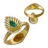 Кольцо Трансформер с изумрудом, бриллиантами и цитрином кабошон, желтое золото