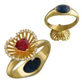 Кольцо Трансформер с сапфиром сердце, бриллиантами и сапфиром кабошон, желтое золото