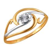 Кольцо Цветок с бриллиантом из серебра с позолотой