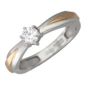 Кольцо Солитер с бриллиантом, комбинированное золото