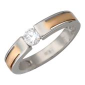 Кольцо с бриллиантом в центре, комбинированное золото, 585 пробы