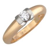 Кольцо с бриллиантом, красное и желтое золото, 585 пробы