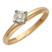 Кольцо с бриллиантом в специальном держателе, красное и желтое золото, бриллиант