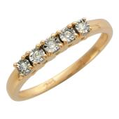 Кольцо с бриллиантами, красное и желтое золото