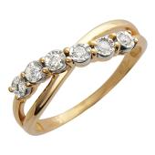 Кольцо Бесконечность с бриллиантами, красное и белое золото