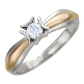 Кольцо помолвочное с бриллиантом, красное и белое золото