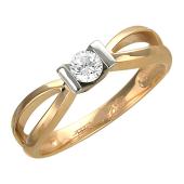 Кольцо с бриллиантом, комбинированное золото