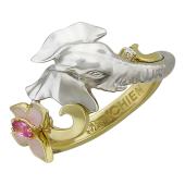 Кольцо с бриллиантом, фантазийным сапфиром и розовой эмалью, желтое и белое золото пробы 585