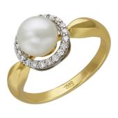 Кольцо с круглой жемчужиной и бриллиантами, желтое золото