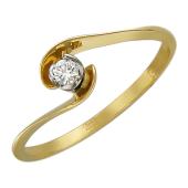 Кольцо с бриллиантом, комбинированное (желтое) золото