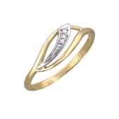 Кольцо с бриллиантами, желтое и белое золото