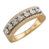 Кольцо с Дорожкой бриллиантов, комбинированное золото
