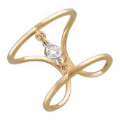 Кольцо длинное с бриллиантом, красное и белое золото