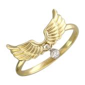 Кольцо Крылья Ангела с бриллиантовой подвеской, желтое и белое золото