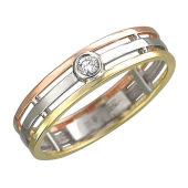 Кольцо с бриллиантом трехсплавное, красное белое и желтое золото