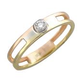 Кольцо с бриллиантом трехсплавное, белое красное и желтое золото