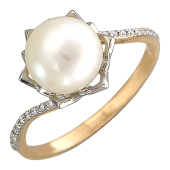 Кольцо Азия с жемчугом и бриллиантами, красное и белое золото