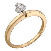 Кольцо с подвеской Сердце с бриллиантами, красное и белое золото