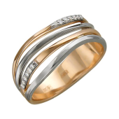 Кольцо Волна с бриллиантами, красное и белое золото