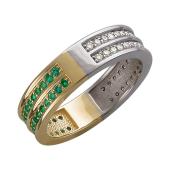 Кольцо Дуэт с бриллиантами и изумрудами, желтое и белое золото