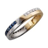 Кольцо Дуэт с сапфирами и бриллиантами, желтое и белое золото